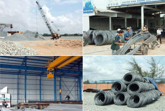 Công nghiệp vật liệu xây dựng, sản xuất bán thành phẩm xây dựng